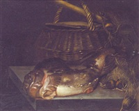 a cod by a creel and fishing nets on a stone table by hendrick ten oever