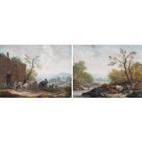 landschaften mit vieh und staffage (pair) by theobald michau