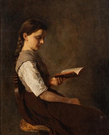 halbportrait eines sitzenden lesenden mädchens by german school southern 19