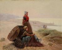 pêcheuse en bord de mer by pierre testu