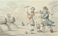 the siege of namur by captain shandy and corporal trim from tristram shandy by thomas rowlandson