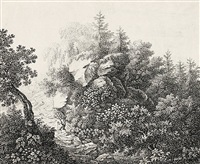 wanderer in bewaldeter felsenlandschaft by johann theodor eusebius faber