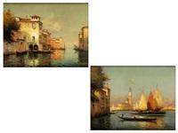darstellung der lagune von venedig sowie blick über einen venezianischen kanal by noel georges bouvard