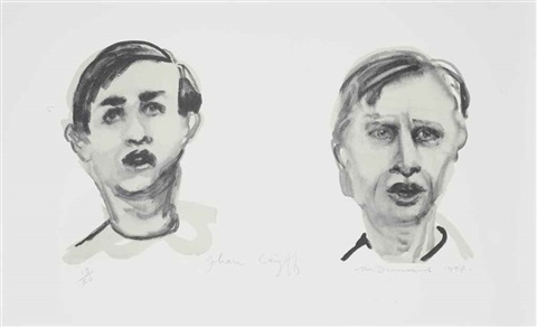 johan cruyff (dubbelportret) by marlene dumas