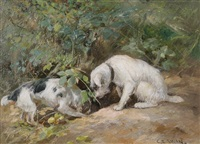 terriers at rabbit hole by cuthbert edmund swann