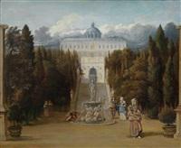 eine phantastische ansicht des parks einer villa in der umgebung von rom (villa d este, castel gandolfo?) by jan van der heyden and adriaen van de velde