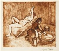 adèle préparant le tub et ketty aux bras levés by suzanne valadon