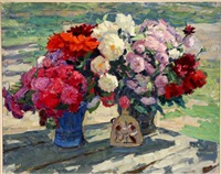 still life with two vases of flowers by yuri smirnov