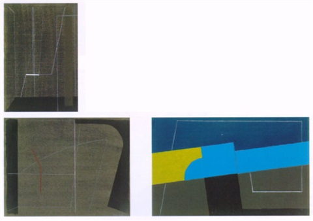 komposition mit blau gelber diagonale by tamas konok
