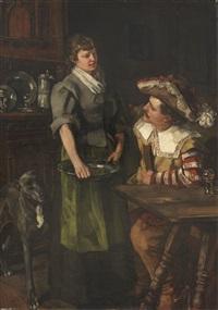 zechender landsknecht mit serviermädchen by wilhelm trübner
