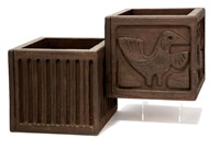 carved wood planter boxes (2 works) by evelyn ackerman