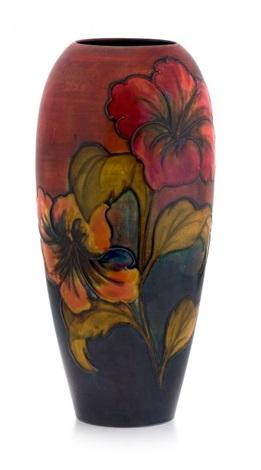A large William Moorcroft Hibiscus pattern flambé vase by William