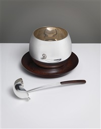 punch bowl and ladle (2 works) by kay bojesen