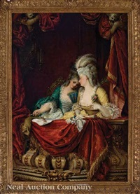 an older and a younger woman in a box at the opera by adolf pichler