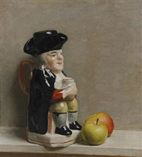 still life of a toby jug and apples by john bulloch souter