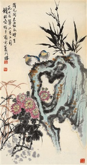 花鸟 镜片 纸本 by qian songyan