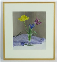 two tulips and two irises by rebecca fagg