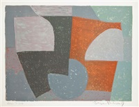 composition grise, rouge et verte by serge poliakoff