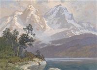 landschaft mit see und bergen by georg janny