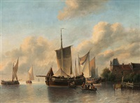 ships in a harbour by antonie waldorp
