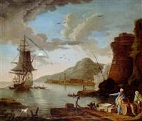 hamnbild vid medelhavet med svenskt fartyg by johan nils asplind