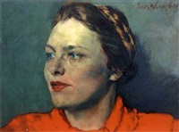 portrait of a girl in red by erich wolfsfeld