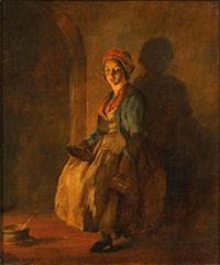 a serving girl, by firelight by william mulready