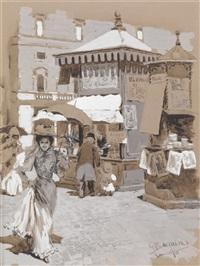 zeitungskiosk und passantinnen mit sonnenschirm by gustavo bacarisas