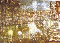 harbor lights (+ night lights with museum, smllr; 2 works) by martin jackson