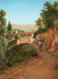 italienskt bergslandskap med en man ridande på en åsna by gustaf wilhelm palm