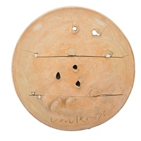 large charger with incisions and applied elements by peter voulkos