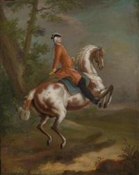 ein reiter auf einem pferd in der levade by johann elias ridinger
