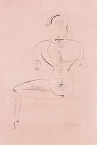 figur von der seite (figur h 2, sitzende) by oskar schlemmer