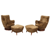 pair high of barrel chairs and ottomans, designed, later issue by vladimir kagan
