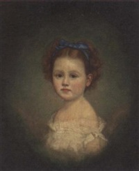 portrait of a girl in a white dress and blue headband by a. pickering