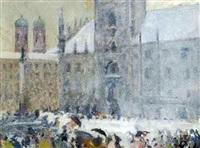 marienplatz in münchen im schneetreiben by julius exter