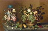 stillleben mit fruchtkorb und blumenvase by ambrosius bosschaert the younger