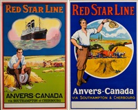 red star line : anvers-canada via southampton et cherbourg (set of 2) by samuel colville bailie