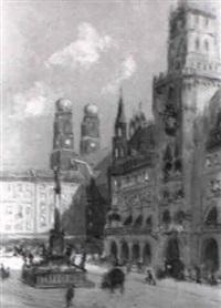 marienplatz und rathaus in münchen by rudolf pöschmann