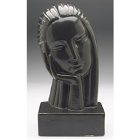 woman with head in hand covered (designed by a. drexel jacobsen) by cowan pottery (co.)
