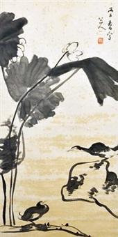 荷花图 by bada shanren