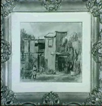 mexican street scene, and mexican houses (11 x 15in.) (2) by dewey albinson
