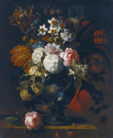 a still life of guelder roses tulips daffodils an iris a peony and other flowers in a vase on a stone ledge by gaspar pieter verbruggen the younger