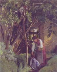 mor og barn i en pergola by otto weber