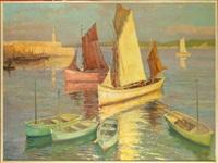 port de honfleur animé (+ port breton avec voiliers animés, verso) by fernand lienaux