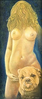 female nude with dog by kurt regschek