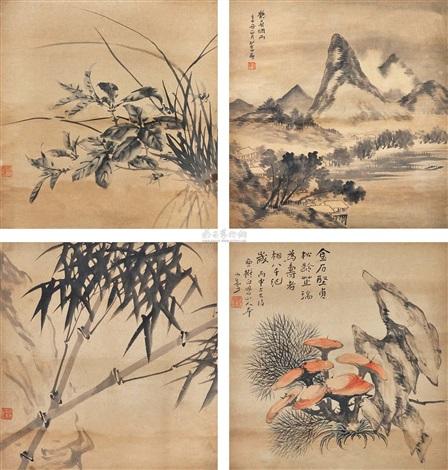 山水花卉斗方 set of 4 by song nian
