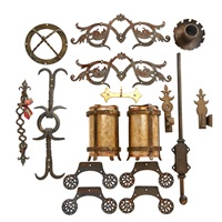 box of assorted hardware items (not all pictured) by samuel yellin
