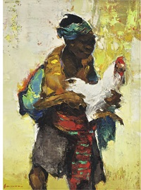 javaanse boer met haan (javanese farmer with cockerel) by gerard adolfs