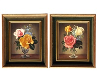 roses and delphiniums and yellow pink blue (a pair) by james noble